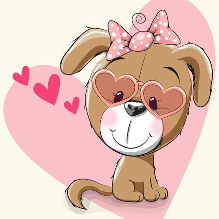 Cute puppy girl with sunglasses on a heart background