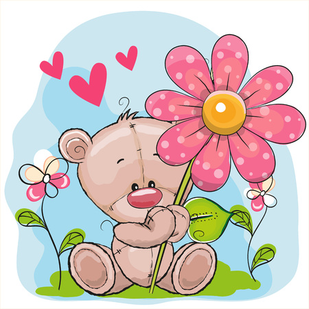 teddybear: Greeting card Bear with flower and hearts
