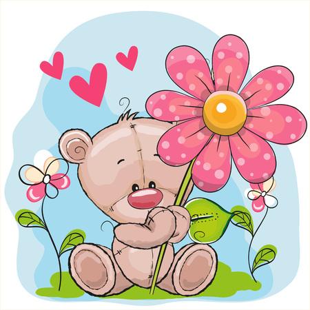 oso caricatura: Tarjeta de felicitaci�n del oso con flores y corazones
