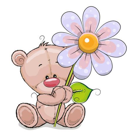 caricaturas de animales: Tarjeta de felicitaci�n del oso con la flor en un fondo blanco