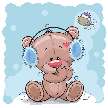 teddy bear christmas: Bear in a fur headphones on the blue background Illustration