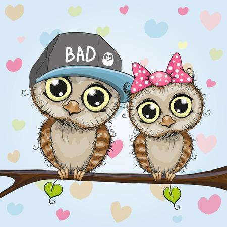 caricaturas de animales: tarjeta de felicitación con dos búhos lindos de la historieta Vectores