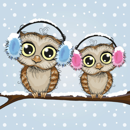 christmas owl: Greeting Christmas card Two Owls on a branch