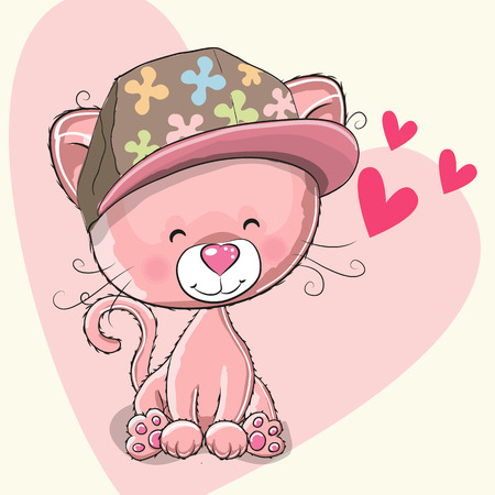 Cute pink kitten with a cap on a heart background Illustration