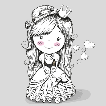 black art: Black and White portrait of a Cute fairy-tale Princess on a gray background Illustration