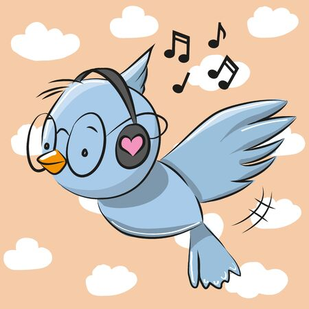 songster: Cute Blue Bird with headphones on the sky background Illustration
