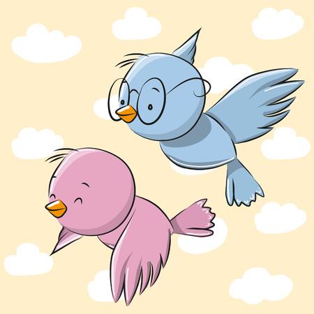 aves caricatura: Dos p�jaros lindos de la historieta en un fondo del cielo