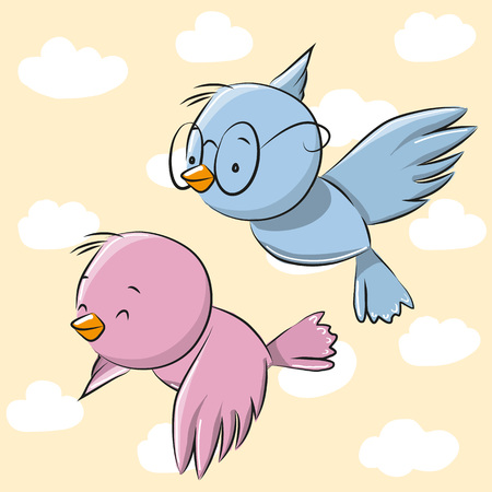 funny love: Two Cute Cartoon Birds on a sky background
