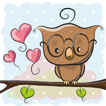 búho lindo de dibujos animados con gafas está sentado en una rama