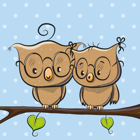 cheerful cartoon: Greeting card with Two cute Cartoon Owls Illustration