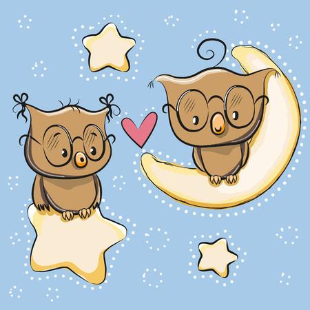 estrella caricatura: Tarjeta de San Valent�n con los amantes de los b�hos en una luna y la estrella