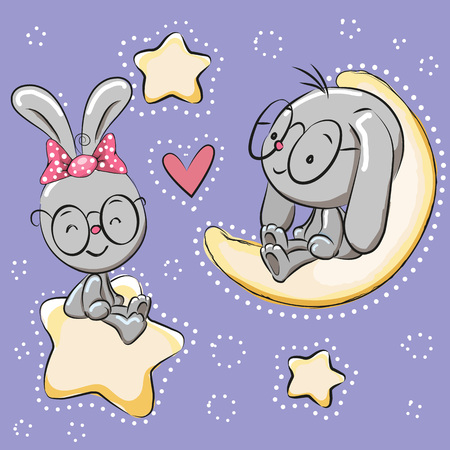 cartoons animals: Valentine card with Lovers Rabbits on a moon and star