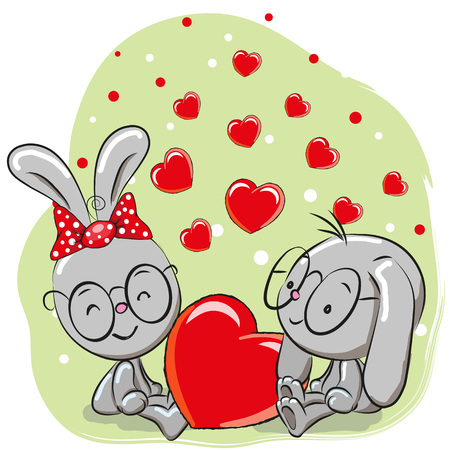 baby illustration: Valentine card with Lovers Rabbits and hearts