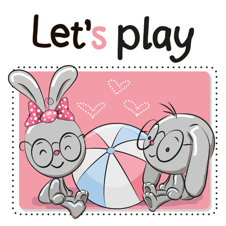cartoons animals: Two Cute rabbits with a ball on a pink background Illustration