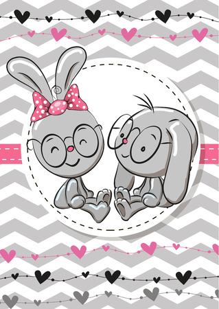 Grußkarte mit zwei Kaninchen in einem Rahmen