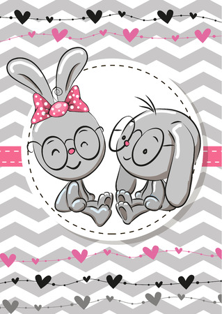 Greeting card with two Rabbits in a frame Illustration