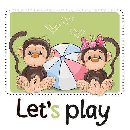 pelota caricatura: Dos monos lindos con una pelota en un fondo verde