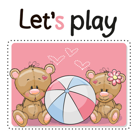 summer cartoon: Two Cute Bears with a ball on a pink background