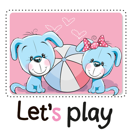 colored: Two Cute dog with a ball on a pink background Illustration