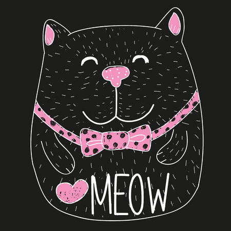 whisker characters: Cute Black Cat on a black background Illustration
