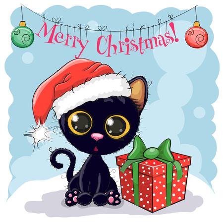 black: Christmas card Cute Black Cat in a Santa hat with gift