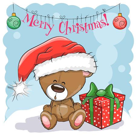 seasons cartoon: Greeting Christmas card Cute Teddy Bear in a Santa hat with gift Illustration