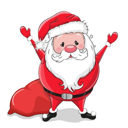Cute Cartoon Santa with gifts on a black background