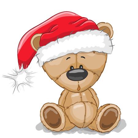 cute background: Cute Cartoon Teddy Bear in a Santa hat on a white background