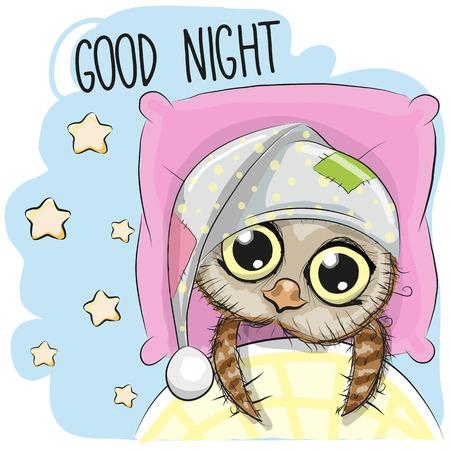 Cute Cartoon Sleeping Owl with a hood in a bed