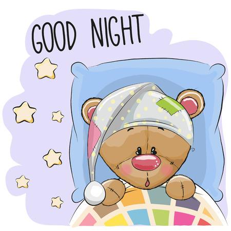 baby sleep: Cute Cartoon Sleeping Teddy Bear with a hood in a bed