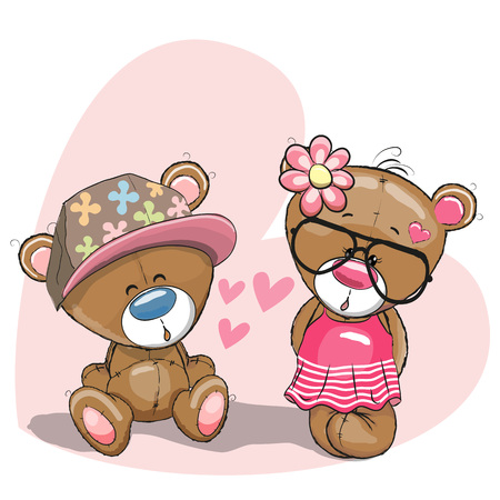 baby illustration: Valentine card with Lovers Teddy Bears on the heart background Illustration