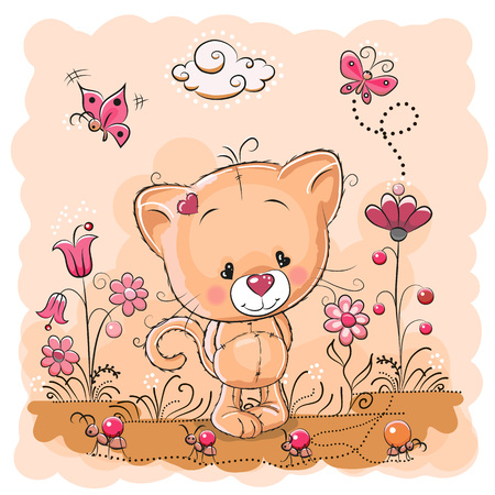 cartoon berries: Cute Cartoon Kitten on a meadow with flowers and butterflies Illustration
