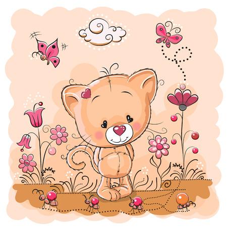 hormiga caricatura: Gatito lindo de la historieta en un prado con flores y mariposas