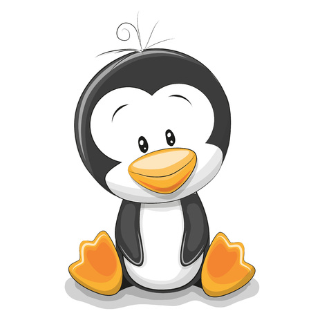 Cute Cartoon Penguin isolated on a white background
