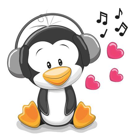 Pingüino lindo de la historieta con los auriculares en un fondo blanco