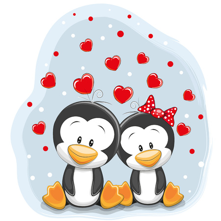 greeting cards: Two Cute Penguins and hearts on a blue background