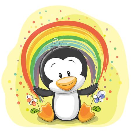 marco cumpleaños: Pingüino de la historieta linda con el arco iris sobre un fondo amarillo Vectores