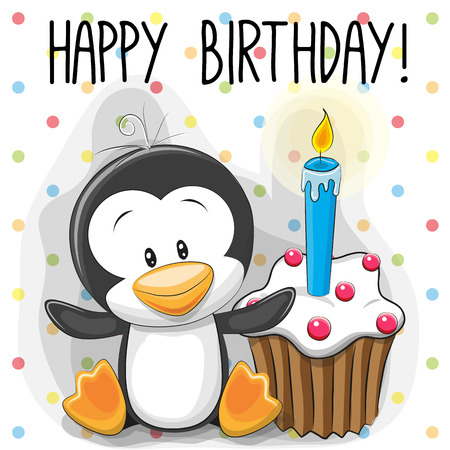 Greeting card cute Cartoon Penguin with cake