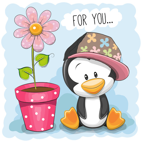 baby animal: Greeting card Cute Cartoon Penguin with flower