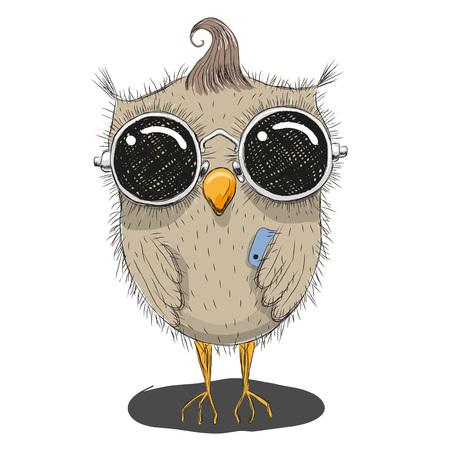 pajaro caricatura: búho lindo de la historieta en gafas de sol con un teléfono
