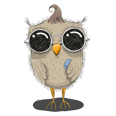 owl isolated: Cute cartoon owl in sunglasses with a phone