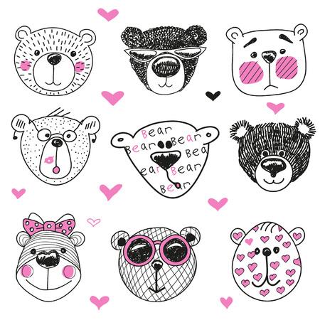 Leuke Beren en harten op een witte achtergrond afbeelding serie
