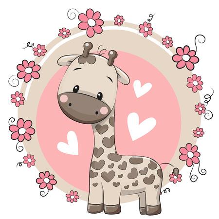 ピンクの背景のかわいい漫画キリン  イラスト・ベクター素材