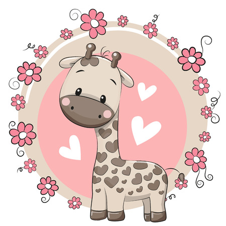 Jirafa linda de la historieta en un fondo de color rosa Foto de archivo - 51844959