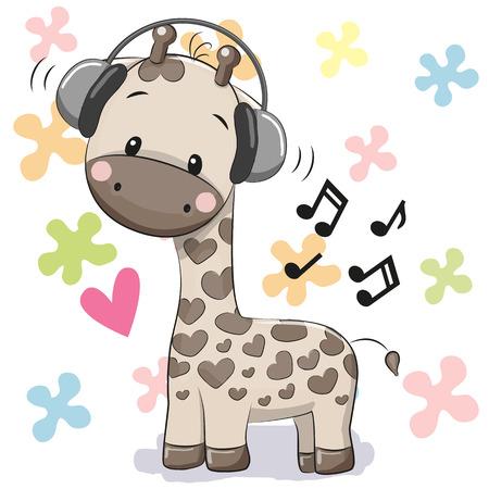 Jirafa de dibujos animados linda con los auriculares en un fondo floral