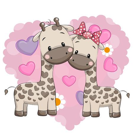 Deux girafes mignonnes sur un fond de coeur Banque d'images - 51844962
