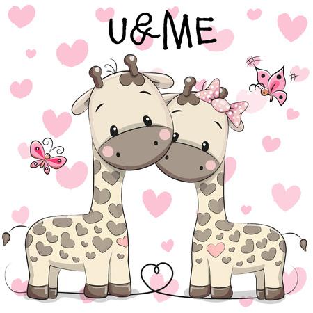 djur: Två gulliga giraff på en hjärtan bakgrund