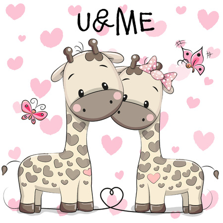 Two cute giraffes on a hearts background Çizim