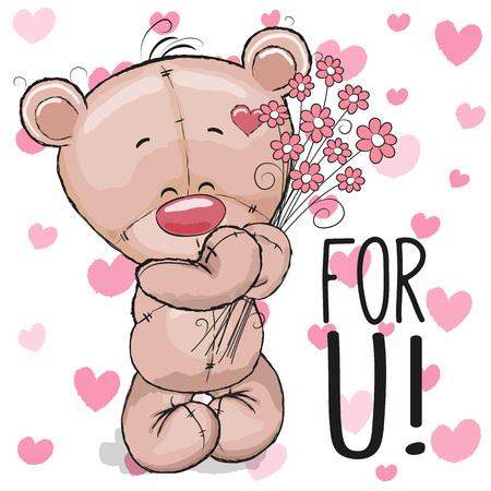 Tarjeta de San Valentín linda del oso de peluche con las flores en un fondo del corazón