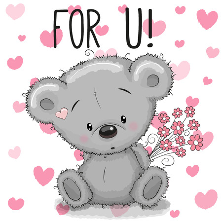 baby animal: Valentine card Cute Cartoon Bear with flowers on a heart background Illustration